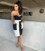 Fashion Pocket Spliced Skirt MNAF-8085