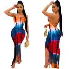 Sexy Tie-dye Print Backless Maxi Dress MNSF-8248