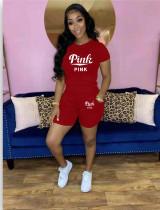 Plus Size Pink Letter Print T Shirt Shorts 2 Piece Suits QYF-5055