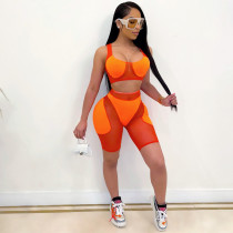 Sexy Mesh Patchwork Two Piece Short Set CQF-S960