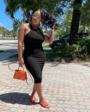 Casual Solid Sleeveless Midi Dress YUF-9073