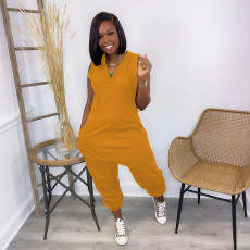 Plus Size Solid V Neck Sleeveless Jumpsuit GS-2050