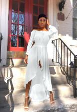Solid Slash Neck Long Sleeve Maxi Dress QYF-0345