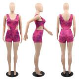 Tie Dye Print Sleeveless Bodysuit+Shorts 2 Piece Sets YUF-9072