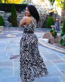 Casual Printed Sleeveless Wide Leg Jumpsuit Without Belt OLYF-6059
