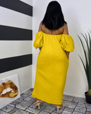 Plus Size Casual Solid Off Shoulder Split Maxi Dress WAF-7180