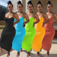 Sexy Solid Spaghetti Strap Slim Maxi Dress MIF-9058