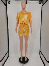 Tie Dye Print Casual Two Piece Short Sets XMF-060