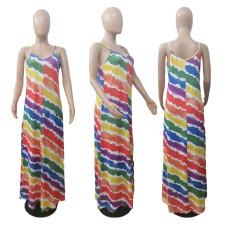 Colorful Printed Spaghetti Strap Maxi Dress ABF-6675