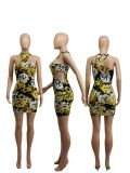 Sexy Printed Hollow Out Sleeveless Club Dress SXF-2114