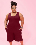 Plus Size Casual Solid Sleeveless Romper WAF-7184