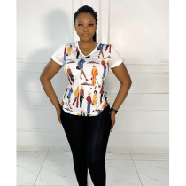 Casual Printed Short Sleeve V Neck T Shirt AWF-5874