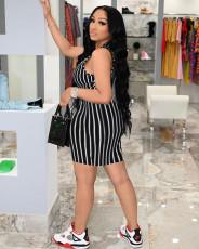 Black White Stripe Sleeveless Mini Dress AIBF-6644
