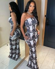 Character Print Off Shoulder Strapless Maxi Dress YNSF-1648