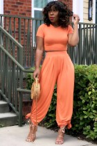 Solid T Shirt Wide Leg Pants Two Piece Sets RUF-8925