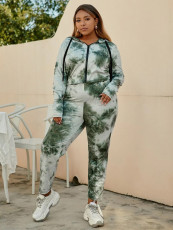 Tie Dye Casual Hooded Two Piece Pant Sets YNSF-1629