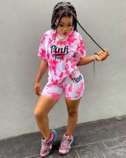 Pink Letter Print Casual Two Piece Short Sets YNSF-1635