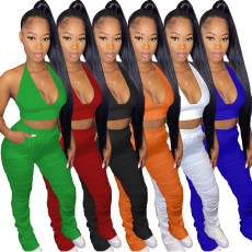 Solid Halter Backless Crop Top Stacked Pants 2 Piece Sets YNSF-1633
