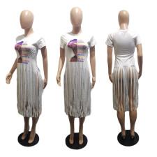 Plus Size Casual Printed Tassel Short Sleeve Top BLI-2302