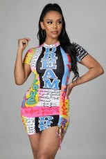 Sexy Printed Short Sleeve Mini Dress BLI-2277