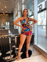 Colorful Printed One Shoulder Ruched Mini Dress YNSF-1636