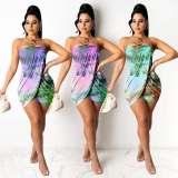 Sexy Printed Off Shoulder Tube Mini Dress NSFF-9015