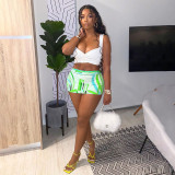 Plus Size Sexy Printed Bodycon Mini Skirt NSFF-8061