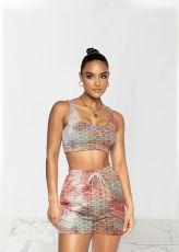 Tie Dye Print Fitness Tank Top Shorts 2 Piece Sets TR-1145