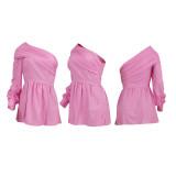 Solid One Shoulder Long Sleeve Mini Dress YD-8387
