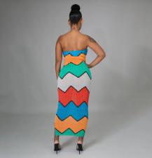 Sexy Printed Off Shoulder Strapless Slim Maxi Dress YIBF-6070