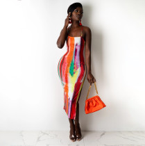 Sexy Printed Cross Strap Split Midi Dress YIBF-6073