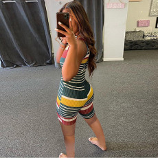 Colorful Striped Sleeveless Romper SMF-8092