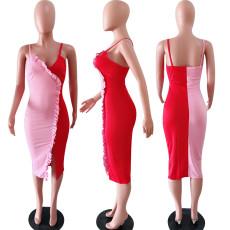 Contrast Color Spaghetti Strap Midi Dress YD-8002