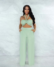 Sexy Off Shoulder Wrap Chest Two Piece Suits YH-5216