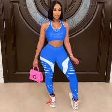 Fashion Printed Slim Sports Vest And Pants Two Piece Sets ML-7438