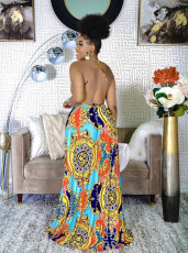 Fashion Sexy Print Backless Maxi Dress CM-2123