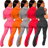 Solid Color Sports Casual Short Sleeve And Pants Two Piece Sets ARM-8283