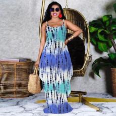 Printed Plus Size Loose Spaghetti Strap Long Dress MOF-6623