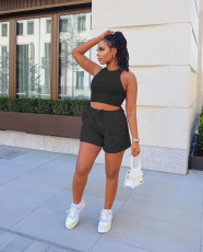 Solid Color Vest Shorts Fashion Casual Two Piece Sets ARM-8288