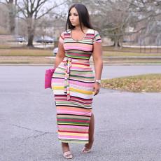 Fashion Plus Size Print Short Sleeve Maxi Dress YUHF-8077