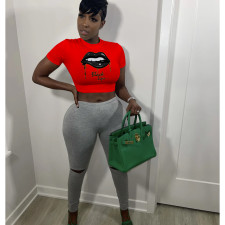 Printed O Neck Slim Cropped T Shirt FOSF-8074