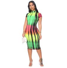 Printed Fashion Short Sleeve Midi Dress YIBF-6074