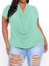 Plus Size Casual Solid Pleated Short Sleeve Tops CYA-1493