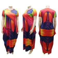 Plus Size Fashion Printed Round Neck Short Sleeve Long Dress CYA-1519