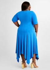 Plus Size Solid Irregular Hem Midi Dress WAF-7192