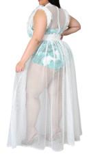 Plus Size Mesh Maxi Dress+Leopard Bodysuit 2 Piece Sets (without belt)CYA-1484