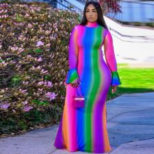 Plus Size Printed Half Turtleneck Flared Sleeve Maxi Dress CYA-1489
