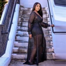 Plus Size Hollow Maxi Dress+Halter Petticoat Dress 2 Piece Sets CYA-1491