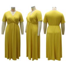 Plus Size Solid V Neck Big Swing Maxi Dress CYA-1513