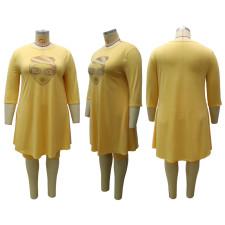 Printed 3/4 Sleeve Loose Plus Size Casual Dress CYA-1532